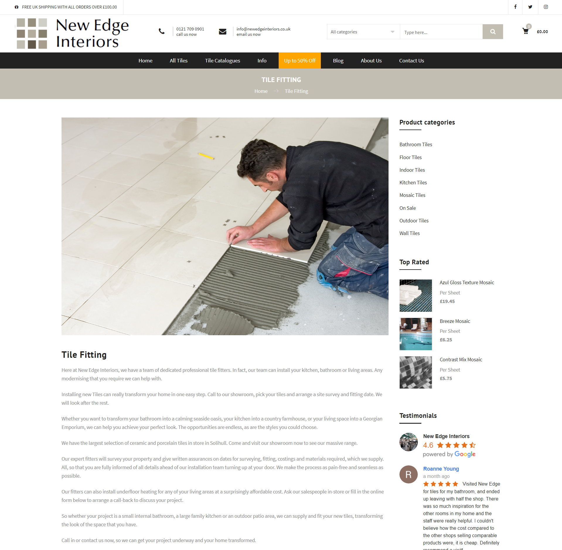 www.newedgeinteriors.co.uk The Largest online tile shop in the UK
